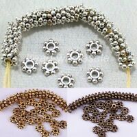 Lots 150pcs Tibetan Silver Flower Daisy Shaped Spacer Beads Findings 4mm