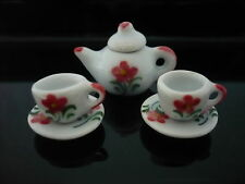 5 Red Rose Teapot Coffee Set Dollhouse Miniatures Ceramic Food Kitchenware