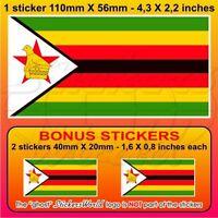 "ZIMBABWE Flag Africa Rhodesia Vinyl Bumper Sticker, Decal 110mm(4.3"") x1+2 BONUS"