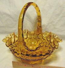 VINTAGE FENTON HAND MADE AMBER ART GLASS THUMB PRINT RUFFLED EDGE BRIDES BASKET