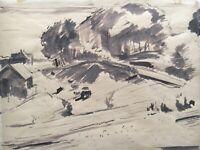 Aquarell Anonym Expressiv Landschaft mit Häusern 22 x 28 cm