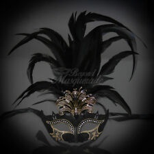 Feather Venetian Masquerade Mask for Women M33136 Royal Black/Gold