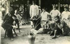 Indochina Laos People drinking Old Amateur Snapshot Photo 1930
