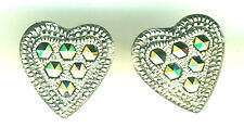 """925 Sterling Silver Marcasite Heart Stud Earrings   14mm  just over 1/2"""""""