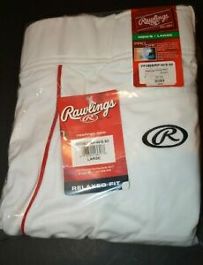 Men's Rawlings Baseball Softball Pants Size L  White with Red Accents NWT
