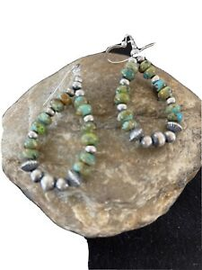 Stunning Navajo Pearls Sterling Silver Bead Green Turquoise Dangle Earrings01342