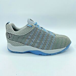 Pearl iZumi Cycling Sneakers Womens 6 Gray Blue Mesh Lace Up 5053