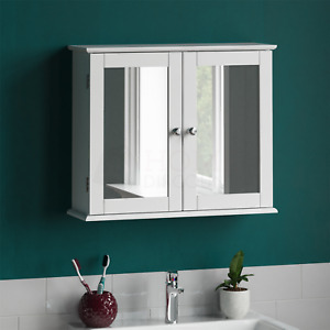 Priano Bathroom Mirror Wall Cabinet Double Doors Mirrored Cupboard Wooden White