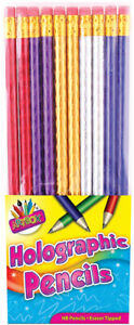 Quality 10 X Holographic HB Pencils with Eraser School Childrens Kids Shinny New