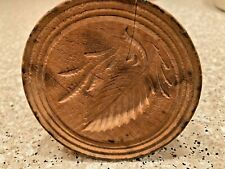Wooden Butter Mold Press Hand Carved Pine Leaf & Leaves VTG Antique Primitive