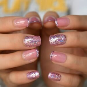 False nails UV Gel Square Glitter Tips pink 24pk +nail tabs by EchiQ