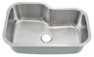 Undermount Stainless Steel Single Bowl Offset Kitchen Sink & FREE strainer