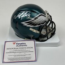 Autographed/Signed NICK FOLES Philadelphia Eagles Mini Helmet Fanatics COA Auto