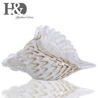 Hand Blown Glass Murano Art Style Seashell Conch Sculpture Ocean Wedding Decor