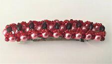 Handmade Red Czech Crystals Swarovski Pink Pearls  Beaded  Barrette Hair Jewelry