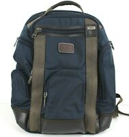 Tumi Alpha Bravo Knox Brief Pack Laptop Business Backpack Blue w/ Brown Leather
