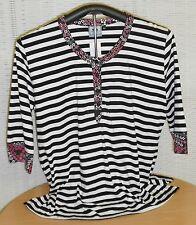 Locker sitzende gestreifte taillenlange 3/4 Arm Damenblusen, - tops & -shirts