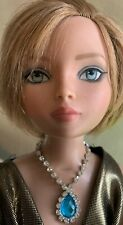 Glacier Blue Faceted Rhinestone Necklace for Ellowyne and Similar-Sized Dolls