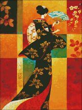 Needlework Crafts Full Embroidery Counted Cross Stitch Kits - Kimono Lady II