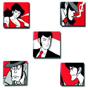 (5 Pezzi) Tele quadri Lupin III Family Stampa su Tela Canvas Quadri 300 gr.