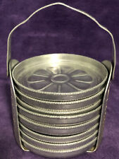 Set of 8 Vintage Pressed Aluminum Coasters Flower Design With Caddy