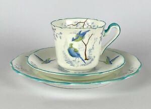 Vintage GROSVENOR China 'Ye Olde English' Blue Bird Design TRIO