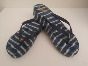TORY BURCH Wedge Flip flops Sandals Navy Blue w/Stripes Rubber Women's 11