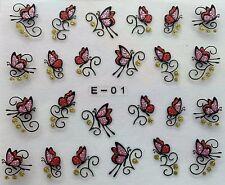 Nail Art Glitter 3D Decal Stickers Butterflies E01/BLE839D