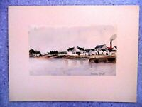 Drawing Original Simone Gruet Twentieth Watercolour Marine Landscape Sea Home