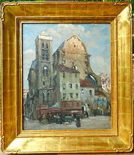Jules Eugene Pages Listed Paris Street Scene Framed in 23 k gold leaf by Toby