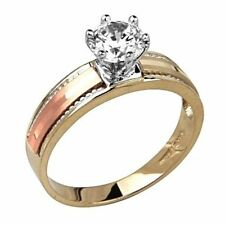 14K Solid Tri-color Gold 1 Ct VS1 Simulated Diamond Solitaire Engagement Ring