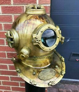 Antique Brass Scuba Marine Diving Divers Helmet US Navy Mark V Full Size 18