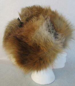 Women's Genuine Red Fox Fur Hat Russian Ushanka/Cossack Tied Top Sz 7 EUC
