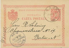 "RUMÄNIEN 1899 10 B rot Kab.-GA-Auslandspostkarte mit K2 ""TECUCI"" nach BERLIN"