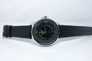 Vive Uhr Armbanduhr Neu Edelstahl Leder Schwarz Grün Silber