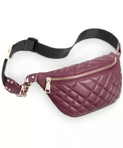 Steve Madden Waist Bag Fanny Pack Quilted adjustable Brown Burgundy Wine Nwt
