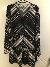 Black multi coloured tunic top Miss shop size 8