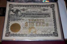 The Progressive Film & Equipment Company Detroit STOCK CERTIFICATE 1915 RARE