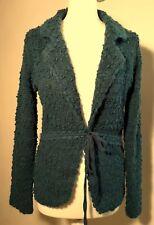 MONSOON teal COTTON, WOOL MOHAIR BOUCLE SILK TIE cardigan knit jacket 14 42 VGC