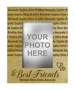Personalized Best Friends Engraved Wood Picture Frame With Name-C1u