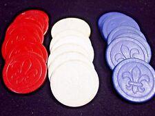 21 - Vintage Pressed Paper Fleur di Lis Gambling Poker Chip 7 Red 7 White 7 Blue