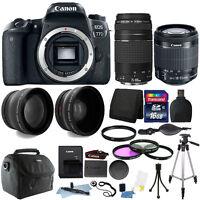 Canon EOS 77D 24.2MP DSLR Camera + 18-55mm + 75-300mm + 16GB Accessory Bundle