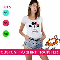 Minnie Mickey Just Married Your Name  Iron On Heat Transfer T Shirt Personalized
