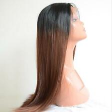 "24""Heat Resistant Synthetic Hair Lace Front Wig Straight Ombre 1B/Dark Brown #33"