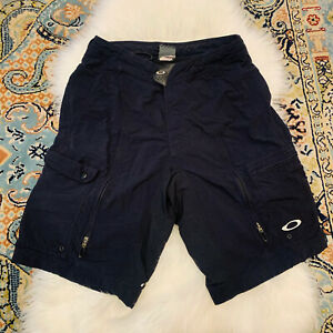 Oakley Cool Max Padded Lined Cargo Mountain Bike Cycling Shorts Black Sz Small