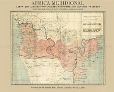 MAP ANTIQUE 1886 UNKNOWN PORTUGUESE SOUTH AFRICA REPLICA POSTER PRINT PAM0363