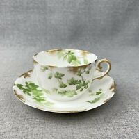 Limoges D&C France Tea Cup Saucer Set R Delinieres White W/ Green Leaves Ivy