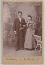 Antique CDV Photo Beautiful Young Stylish Couple Holding Hands.