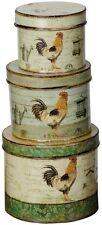 Set 3 Biscuit Cake Tins Kitchen Storage Vintage Style Green Cream Cockerel NEW
