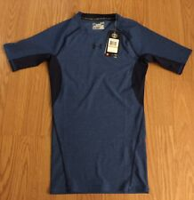 New Under Armour Men Compression Small Blue Black $33 Short Sleeves Top